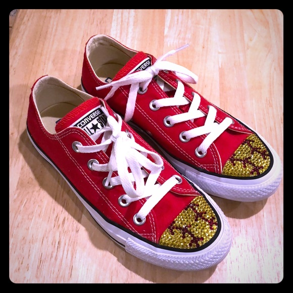 c52e220e9589 Custom Bling Converse! (Softball style!)